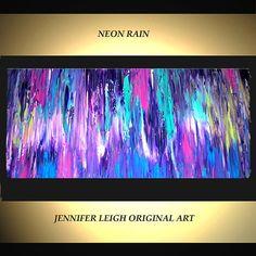 Contemporary Canvas Art Pink Blue Purple Neon Rain 36x18 Palette Knife Texture Oil J.LEIGH  Ask a Question $229.00 USD