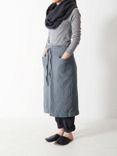 organic linen apron skirt