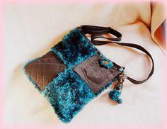 Handmade by Judy Majoros- Turquoise-black faux fur Bag Fur Bag, Bago, Faux Fur, Purses And Bags, Turquoise, Handmade, Hand Made, Green Turquoise, Handarbeit