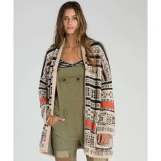 Billabong is a lifestyle & Technical apparel brand committed to the leading edge of Surf culture & Beach Fashion. Sweaters And Jeans, Cool Sweaters, Sweaters For Women, Cardigans, Aztec Print Cardigan, Sweater Cardigan, Brown Cardigan, Billabong Women, Surf Outfit