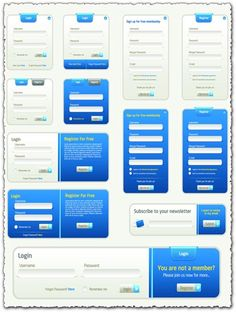 Register and login boxes, in eps vector format