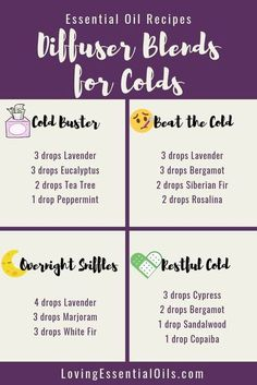 Essential Oils For Colds, Essential Oil Diffuser Blends, Young Living Essential Oils Recipes Cold, Essential Oil Cold Remedy, Humidifier Essential Oils, Essential Oil Congestion, Oils For Diffuser, Anti Viral Essential Oils, Uses For Essential Oils