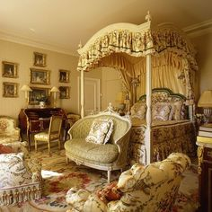 MaisonGeneve2...a little busy...but I LOVE the canopy bed and settee at the end of the bed!! <3