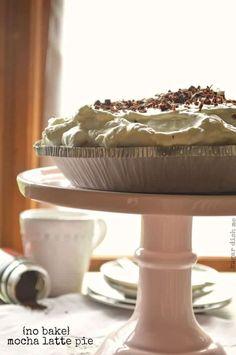 No Bake Mocha Latte Pie Recipe - makes 2 pies Potluck Desserts, Raw Desserts, No Bake Desserts, Dessert Recipes, Tart Recipes, Baking Recipes, Chocolate Shavings, No Bake Pies, Pie Dessert