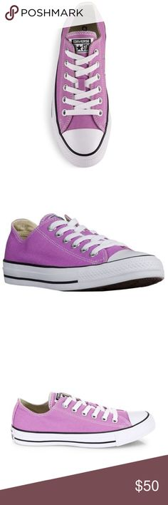 "Violet Low Top All Star Converse These cute low top all star converse sneakers come in a unique hard to find violet shade. These come brand new in box and have never been worn or used. 💜15% of 2 or more times when you bundle 💜Offers welcome 💜Click ""Add to bundle"" so I can send you a private discount  ❌No trades Converse Shoes Sneakers"