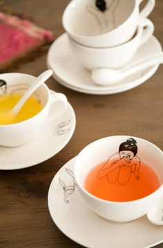 take a bath, Cup & Saucer by Esther Hochner.