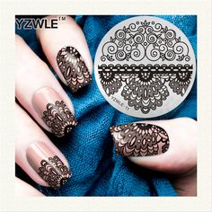 YZWLE 1 Sheet Stamping Nail Art Image Plate, 5.6cm Stainless Steel Template Polish Manicure Stencil Tools…