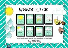 Weather Cards: 8 Beautiful weather cards to print and display.