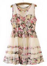 Beige Sleeveless Floral Flare Lace Dress $39.67  #FASHION #SHEINSIDE