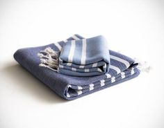 Marine Towel Set Blue Peshtemal Turkish Towel Fouta by Orientina, $34.50