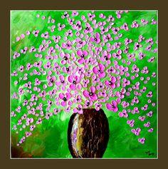 Textura de pintura colorida flor flor pintura sobre lienzo 16