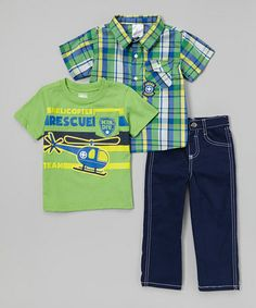Love this Green 'Helicopter Rescue Team' Button-Up Set - Infant, Toddler & Boys on #zulily! #zulilyfinds