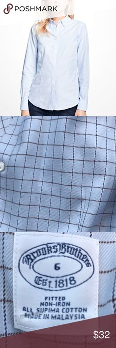 Brooks Brothers Supima Cotton Button Up Shirt Windowpane pattern Brooks Brothers women's supima cotton button up shirt. Fitted and non-iron. Size 6. Excellent condition. Brooks Brothers Tops Button Down Shirts