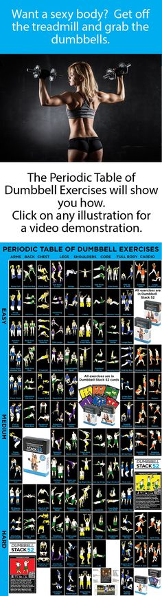 104 different dumbbell exercises organized by muscle group and difficulty… Muscle Fitness, Gain Muscle, Build Muscle, Fitness Tips, Fitness Motivation, Muscle Mass, Senior Fitness, Exercise Motivation, Fitness Nutrition