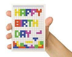 Video Game Greeting Card  Tetris Geeky Birthday  by TheWallaroo on Etsy, $3.75