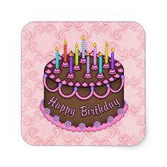 Pink Birthday Cake sticker