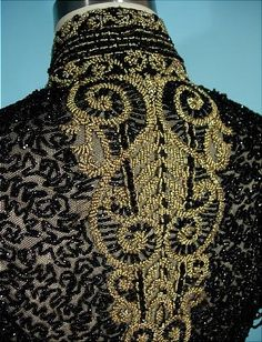 oh. my. word. victorian jet black and gold glass net-beaded bodice with open beaded sleeves, c.1890