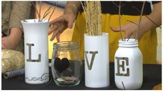 I like this idea of spelling a word with a variety of bottles and jars. Bottles And Jars, Glass Bottles, Mason Jars, Spray Painted Bottles, Thankful Tree, Decorative Bottles, Mason Jar Flowers, Bottle Painting, Tins