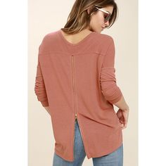 Zip to My Lou Rusty Rose Sweater Top ($35) ❤ liked on Polyvore featuring tops, sweaters, pink, pink heart sweater, long sleeve scoop neck top, brown tops, zipper sweater and heart sweaters