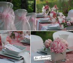 Printemps gourmand - Location nappes, housses de chaise blanches Miami, centre de table rose pale, présentation originale menu mariage vintage, décorateur Poitiers, pivoines