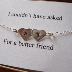 Best Friends Bracelet- Hand Stamped Hearts, Engraved Initials Bracelet,  $28.00, via Etsy.