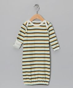Take a look at this Aqua & Gold Stripe Organic Gown by Max + Ella on #zulily today!