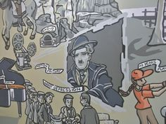 12 x 85 foot history mural created for Children First Academy in Phoenix, AZ with some amazing assistants. Charlie Chaplin's likness appearing with permission courtesy of Bubbles S.A.