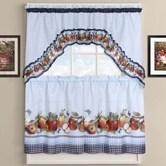 Sweet Home Collection Delicious Apples Kitchen Curtains Size: Cottage Curtains, Sweet Home, Curtains, Sweet Home Collection, Whimsical Kitchen, Kitchen Curtain Sets, Decorative Curtain Rods, Valance, Kitchen Curtains