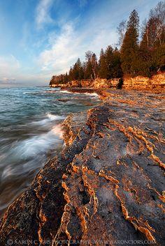 Cave Point County Park, Door County, Wisconsin; photo by .Aaron C. Jors