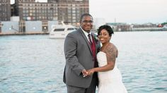 David's Bridal bride, LaToya in a strapless beaded gown for her Baltimore wedding. | Via The Baltimore Sun
