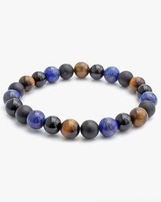 Benefits of Lapis Lazuli Lapis Lazuli Bracelet, Tiger Eye Bracelet, Black Tourmaline, Stone Bracelet, Black Onyx, Crystal Healing, Beaded Bracelets, Jewelry, Check