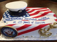 Naval retirement cake , American Flag, anchor , navy seal, Sweet Layers