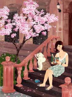 Reading on the front stoop, tree in bloom: Brooklyn by Aimee Sicuro of weathergirlshop on Etsy