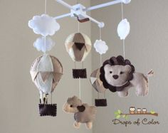 Baby Mobile Baby Crib Mobile Hot Air by dropsofcolorshop on Etsy