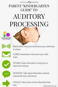 """Auditory System: """"Kindergarten Guide"""" to Auditory Processing and How Your Child Uses it in the Classroom - Integrated Learning Strategies Auditory Processing Activities, Auditory Learning, Auditory Processing Disorder, Speech Therapy Activities, Learning Disabilities, Sensory Activities, Sensory Processing, Sensory Therapy, Sensory Rooms"""