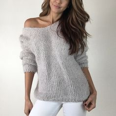 """Light Grey Puffy Sweater M L Incredible soft & plush sweater in a gorgeous light grey. Feels like being wrapped in a cloud! Features dolmen style sleeves and flattering wide neck line. Size M measures 32"""" across chest and 27"""" in length. Also in black. For size reference I am wearing Size S and 5'3"""" * Please do not purchase this listing- Thank you! * Boutique Sweaters"""