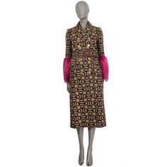 Gucci Fur-Cuffs Optic-Print Belted Multi-Color Wool Coat Belted Coat, Luxury Shop, Leather Buckle, Suede Jacket, Wool Coat, Cuffs, Artsy, Gucci, High Neck Dress