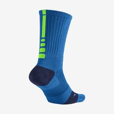 New Nike Elite Basketball Socks Mens Shoe Size 8-12 Blue Green Crew 1 Pair Gift #Nike #Athletic