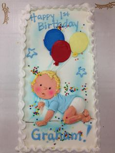 Baby and balloons first birthday cake