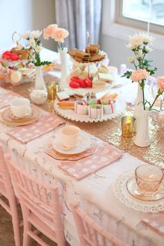 Pretty in Pink — the wandering tea party Tea Party Table, Party Party, Mango Mousse Cake, Girl Birthday, Birthday Parties, Styling A Buffet, Tea Party Baby Shower, Pink Table, Tea Sandwiches