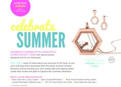 *** SNEAK PEEK! *** Look what's coming this summer, beginning June 1st, 2016!!! This summer, hostesses can earn this exclusive Rose Gold Hex Locket and Rose Gold Hex Earrings Set! Our signature Origami Owl shape as a locket! Schedule your summer jewelry bar today! Choose from having it online or in person. www.CharmingLocketsByAline.OrigamiOwl.com