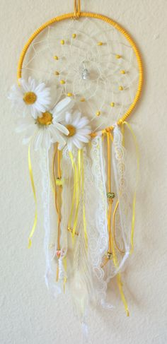 Yellow Daisy Dream Catcher with a Wire Wrapped Quartz Pendant, Matching Beads, Lace, Ribbon, and a Peacock Feather
