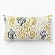Hand-Blocked Maze Pillow Cover - Horseradish #westelm