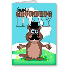 Groundhog day card happy groundhog day card mustache moustache groundhog day with cute cartoon card printable cardsgreeting m4hsunfo