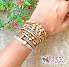 #rainbowhandmadeart  #rainbow #handmade #art #handmadejewelry #handmadejewellery #handmadejewerly  #jewelry #jewelrygram #style #newcollection #adjustable #moodygrams #justgoshoot #stylish #girls #style #stylegram #instafashion #instastyle #giftforher #jewelryaddict  #festivalmood #fashiongram #bracelets  #ss20 #pearls #shoppingonline #swarovski #eye #leather Handmade Art, Handmade Jewelry, Bangles, Bracelets, Swarovski, Rainbow, Beige, Pearls, Stylish