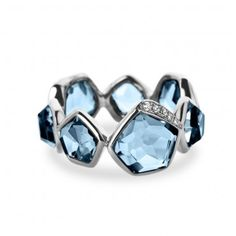 Multi Stone Band Ring in London Blue Topaz with Diamonds