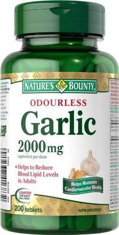 Nature's Bounty Odorless Garlic 2000mg 200 count by Nature's Bounty, http://www.amazon.ca/dp/B00BMEHZ7E/ref=cm_sw_r_pi_dp_D3Wwrb0NDABHQ