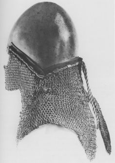 Basinet with riveted mail aventail, circa Missing visor, Zeughaus, Berlin, Germany. Helmet Armor, Arm Armor, Medieval Helmets, Medieval Armor, Chainmail Armor, Plantagenet, Armours, Medieval Times, Medieval Clothing