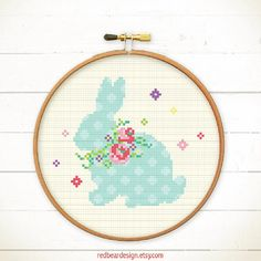 Easter cross stitch pattern - Bunny with Floral Wreaths - Modern Funny Easter xstitch pattern happy spring flower cute bunny rabbit shadow