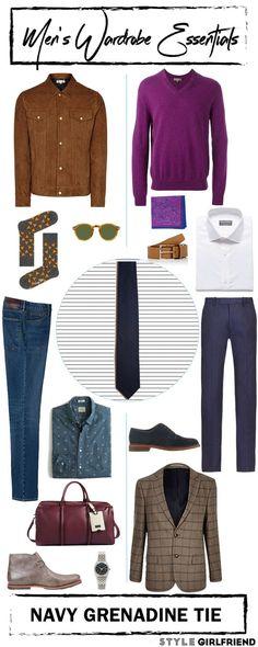 Style Girlfriend   Men's Wardrobe Essential: Navy Grenadine Tie